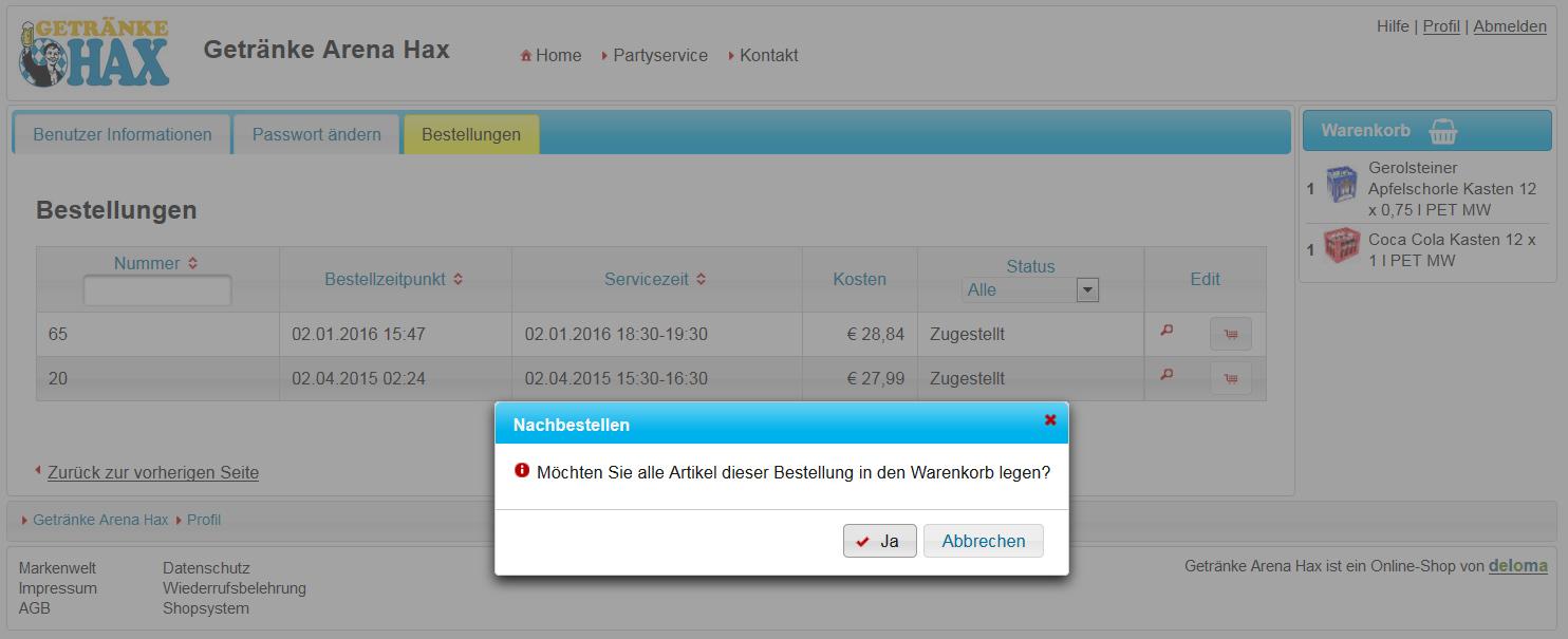 Nachbestellfunktion in der Bestellübersicht im Profil