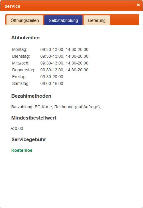 Servicedialog Abholservice
