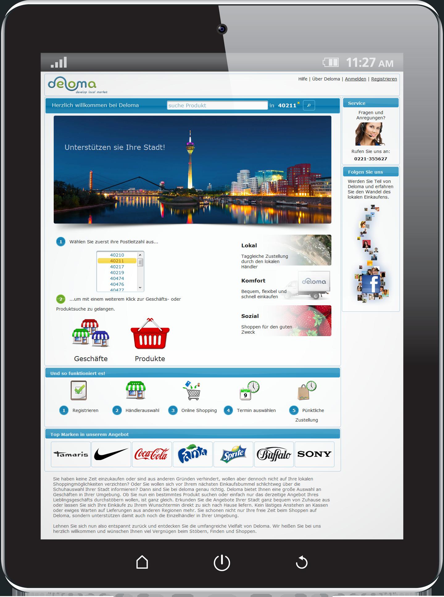 Tablet mit Deloma-Marktplatz App